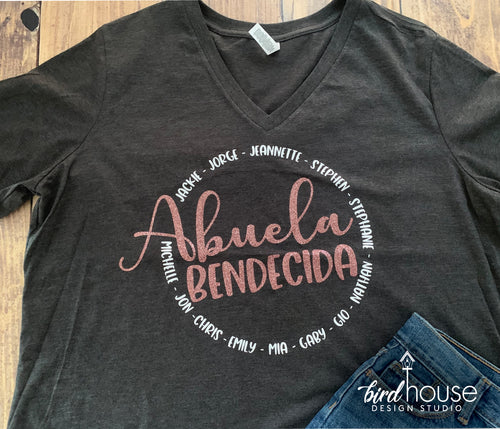 Abuela Bendecida, Personalized with Names, Cute Grandma, Mima, Mom, Abuela Shirt, Any Color