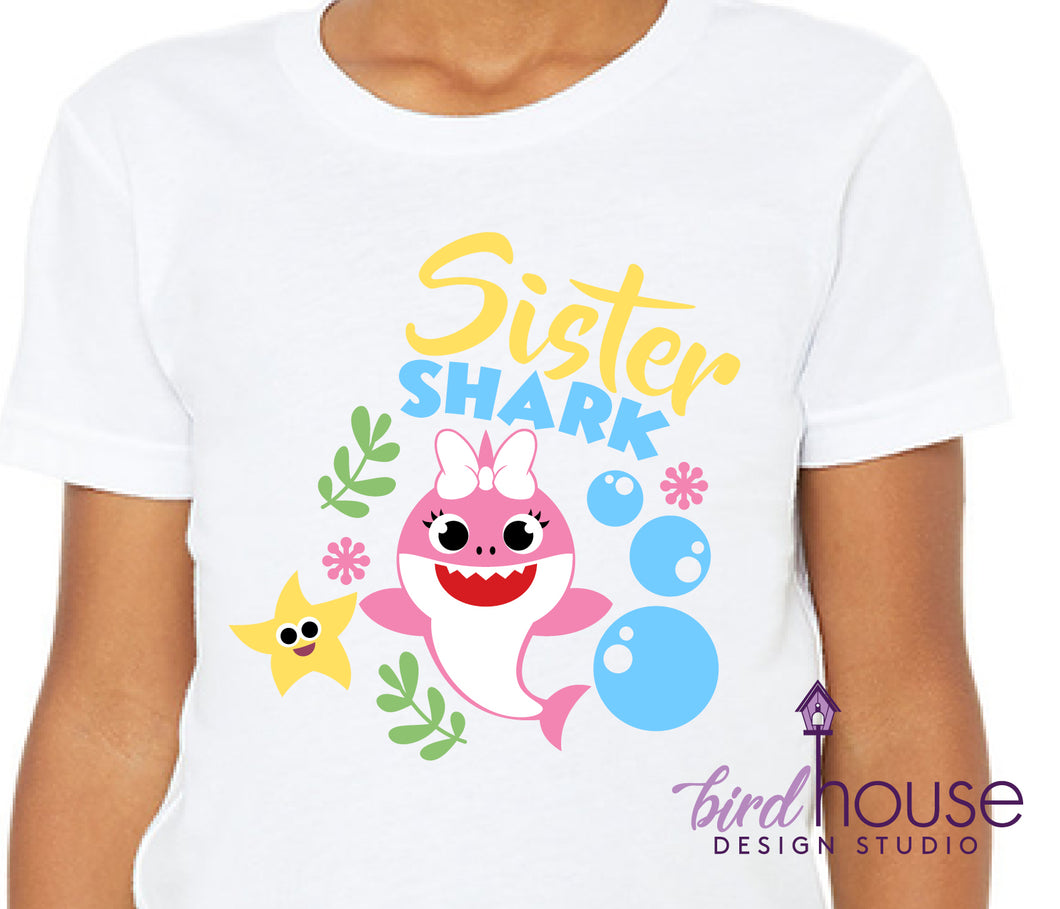 Sister Shark, Girl Or Boy options Available, Custom Any Color Shark, Cute Family Birthday Shirts