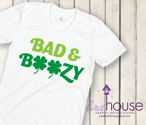 Bad & Boozy, Cute St. Patricks Day, Custom Matte or Gliiter T-Shirt, Personalized, Any Color, Any Text