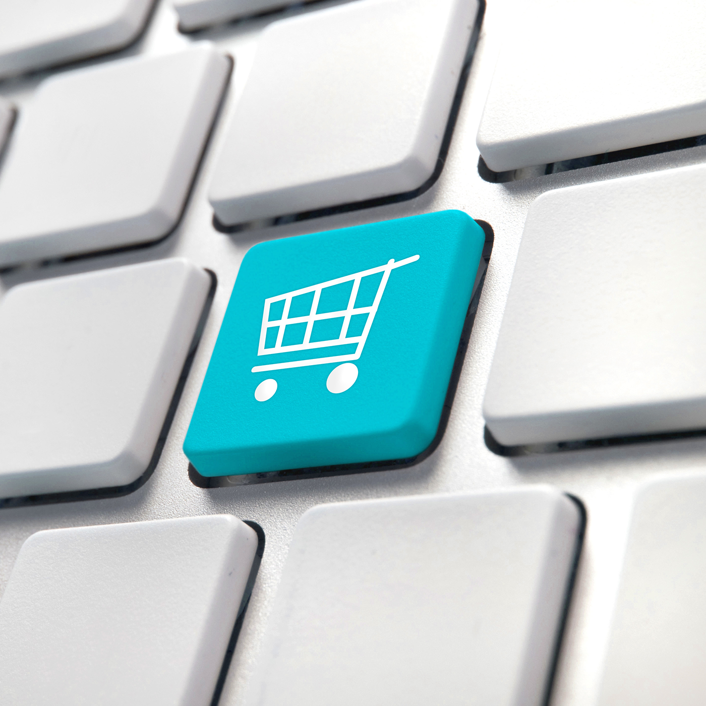 Computer keyboard with shopping cart e-commerce key