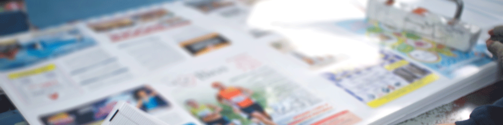 Picture of coloured printed marketing materials