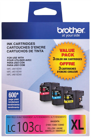 Brother High Yield C/M/Y Ink Cartridge Combo Pack (Includes 1 Each of OEM# LC103C LC103M LC103Y) (3 x 600 Yield)