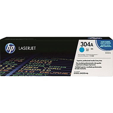 HP 304A (CC531A) Cyan Original LaserJet Toner Cartridge (2800 Yield)