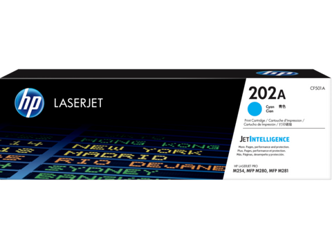 HP 202A (CF501A) Cyan Original LaserJet Toner Cartridge (1300 Yield)