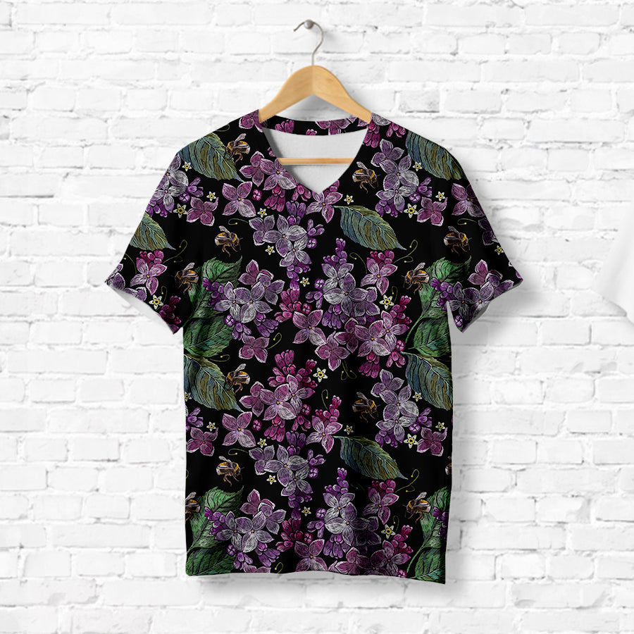 BLOSSOMING LILAC FLOWERS T-SHIRT