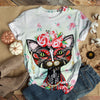 Black Cat With Flower T-shirt
