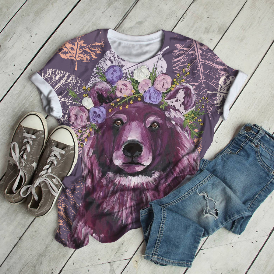 PURPLE BEAR WITH FLOWER T-SHIRT
