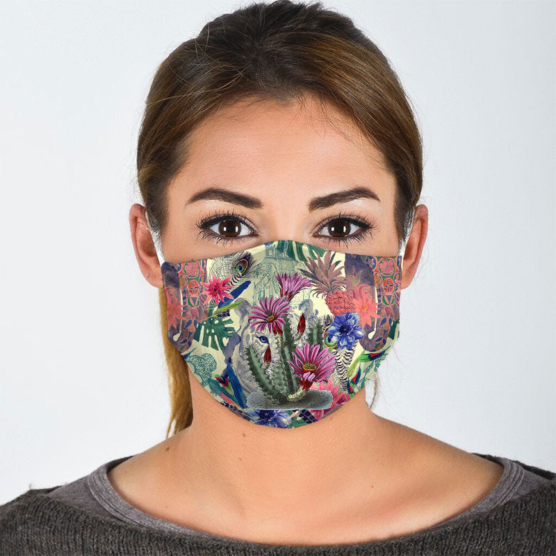 COLRFUL BLOOMING CACTUS FACE MASK
