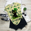 Cute Black Kitten In Leprechaun Hat With Four-leaf Clovered Patrick T-shirt