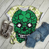 Irish Skull With Clover Grunge Vintage T-shirt