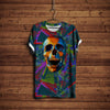 SKULL IN COLORFUL PATTERN T-SHIRT