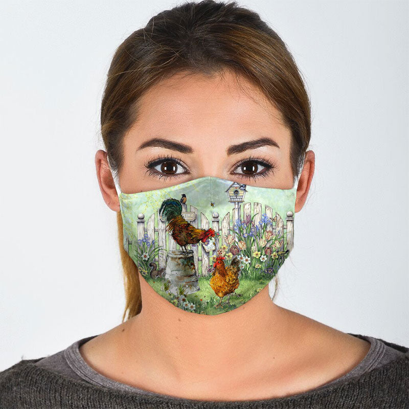 CHICKENS IN THE GARDEN FACE MASK