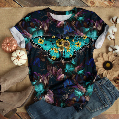BLUE BUTTERFLY FLORAL T-SHIRT