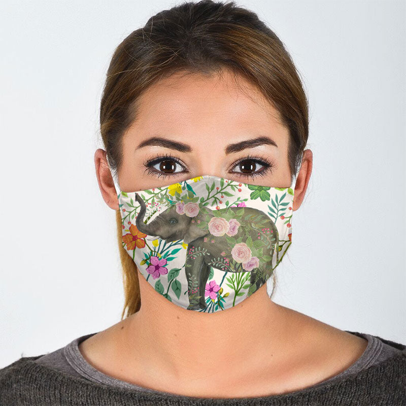 ELEPHANT IN FLOWER JUNGLE FACE MASK