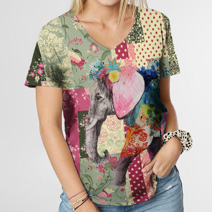LADY ELEPHANT IN PINK T-SHIRT