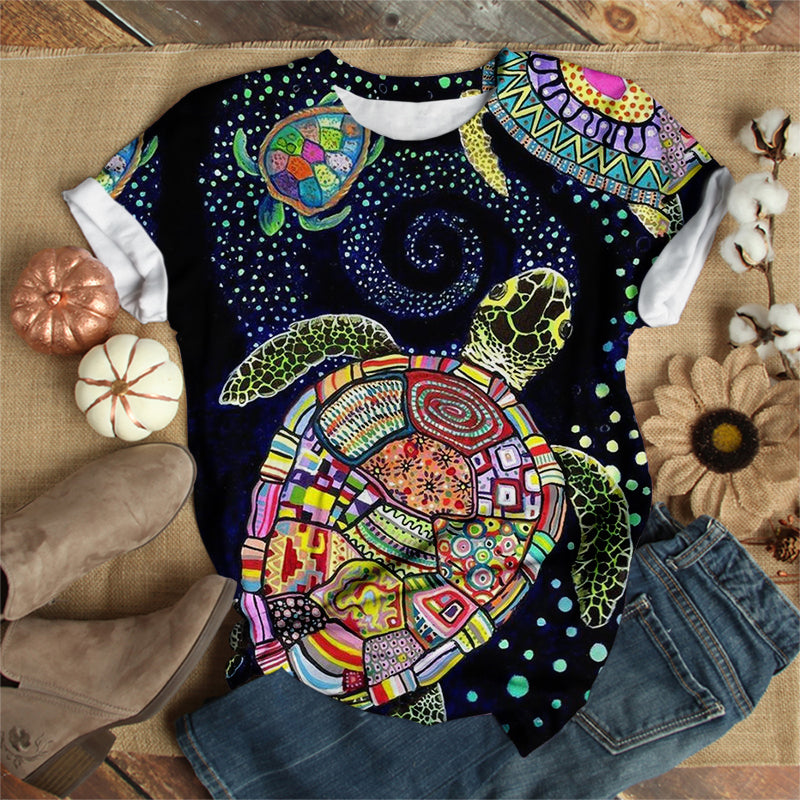 PATCHWORK COLOR SEA TURTLE T-SHIRT