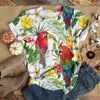 Parrot With Flowers T-shirt