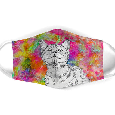 COLORFUL PAINTING CAT FACE MASK