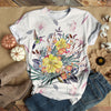 HUMMINGBIRD FLYING OVER FLOWERS CLASSICAL T-SHIRT