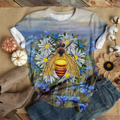 BEAUTIFUL BEE OVER FLOWERS T-SHIRT
