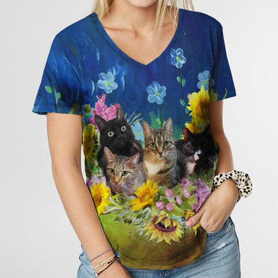 FLOWERY CAT FAMILY T-SHIRT