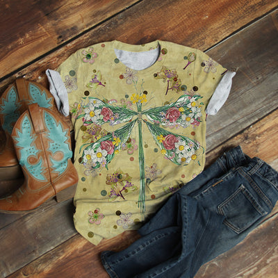 GRASS AND FLOWER DRAGONFLY T-SHIRT