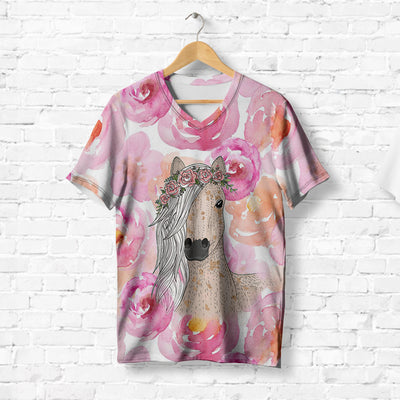 HORSE WEARING FLOWERS CROWN T-SHIRT