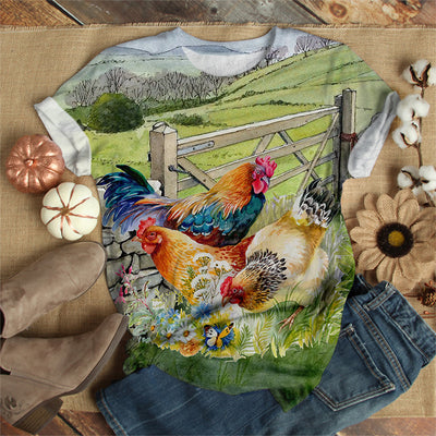 CHICKENS IN THE GARDEN T-SHIRT