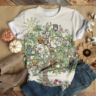 OWLS ON TREE BRANCH T-SHIRT
