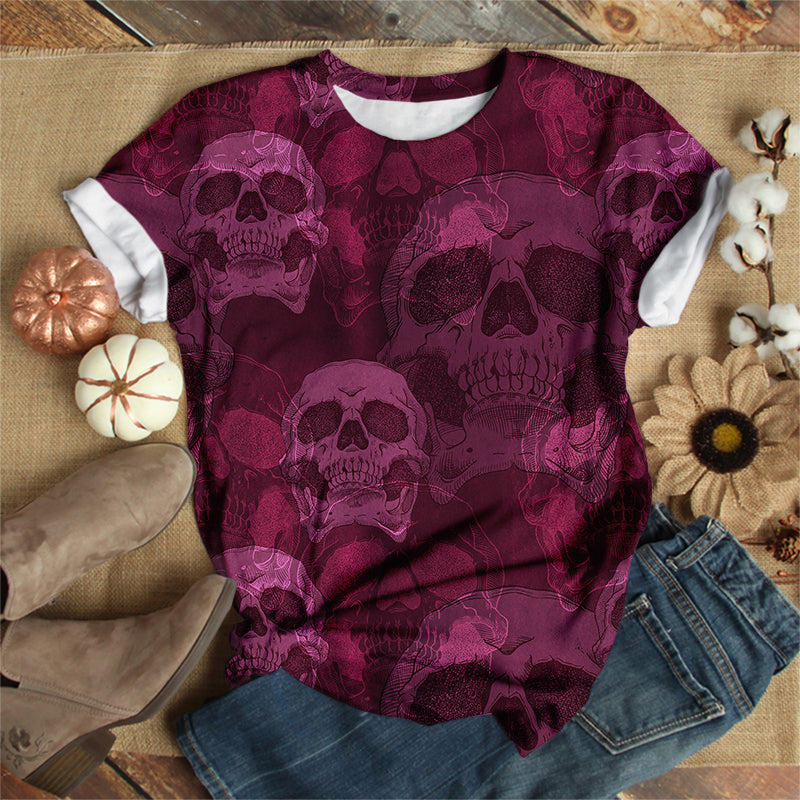 PINK PURPLE SKULL T-SHIRT