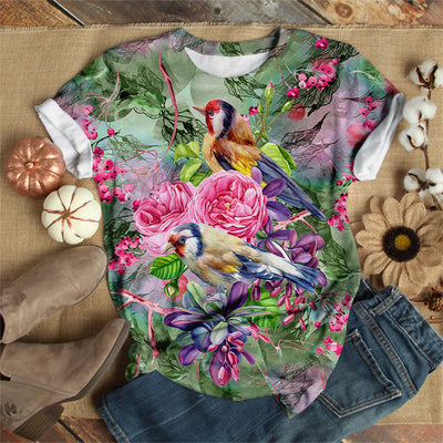 BIRD WITH FLOWERS T-SHIRT