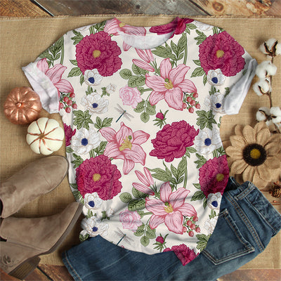 DRAGONFLY FLORAL T-SHIRT