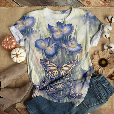 BLUE BUTTERFLY WITH FLOWER T-SHIRT