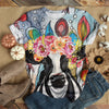 LADY COW IN COLORFUL FLOWER HEAD WREATH T-SHIRT
