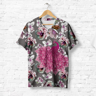 PINK PEACOCK WITH CAMELLIA T-SHIRT