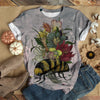 Colorful Flowers On Stressful Bee T-shirt