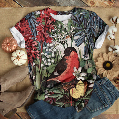 RED-BREASTED MEADOWLARD WITH FLOWER T-SHIRT