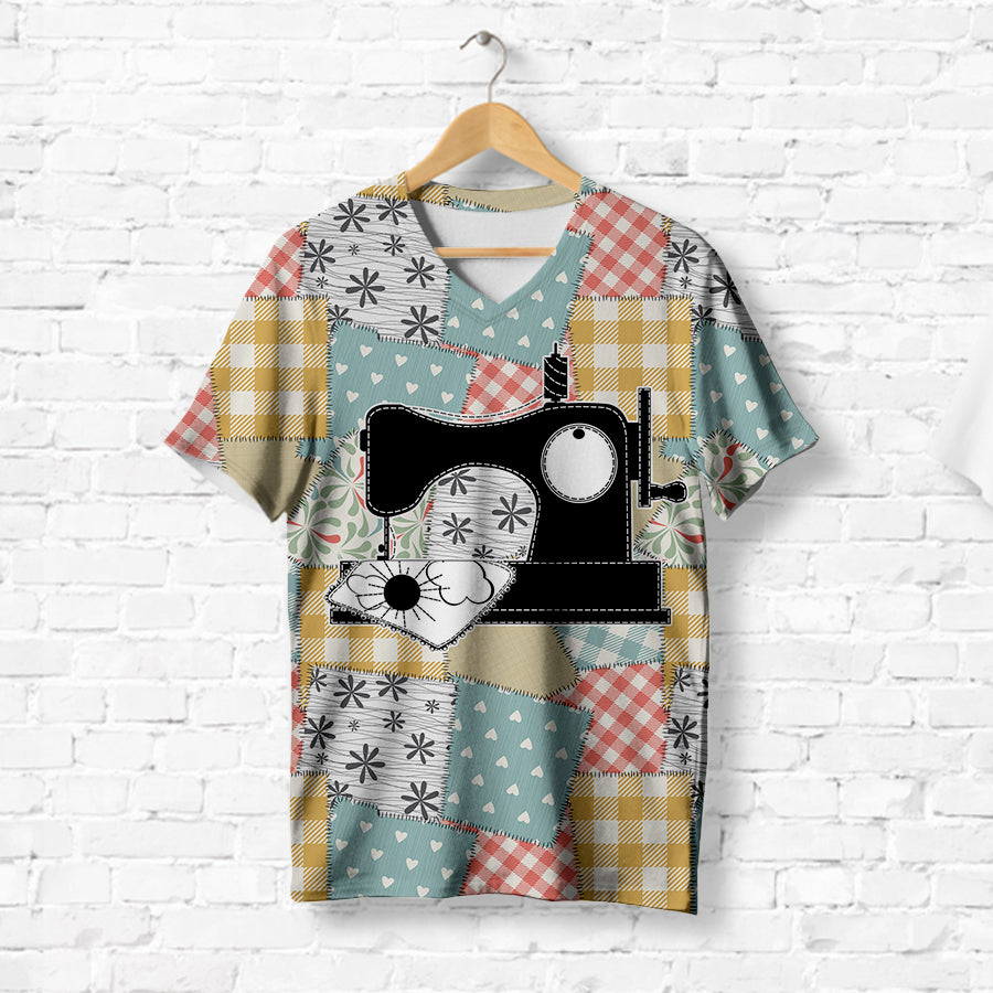 PATCHWORK SEWING MACHINE T-SHIRT