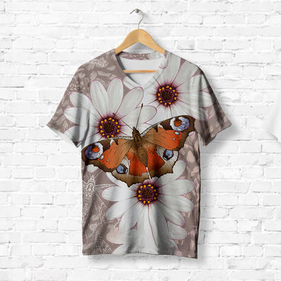 UNIQUE BUTTERFLY ON WHITE FLOWERS T-SHIRT