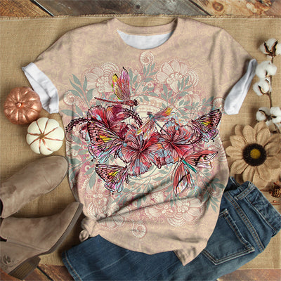 DRAGONFLY WITH HIBISCUS FLOWER T-SHIRT