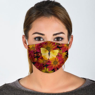 YELLOW BUTTERFLY IN FLOWER FACE MASK