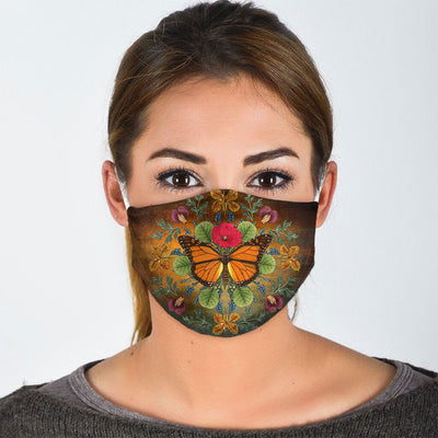 MYSTIQUE ORANGE BUTTERFLY FACE MASK