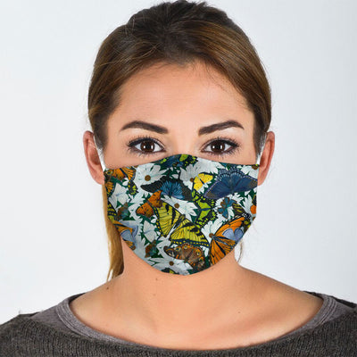 ABSTRACT BUTTERFLIES ON BLOOMING FLOWERS FACE MASK