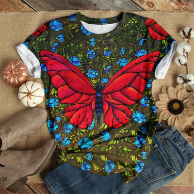 MYSTERIOUS RED BUTTERFLY T-SHIRT
