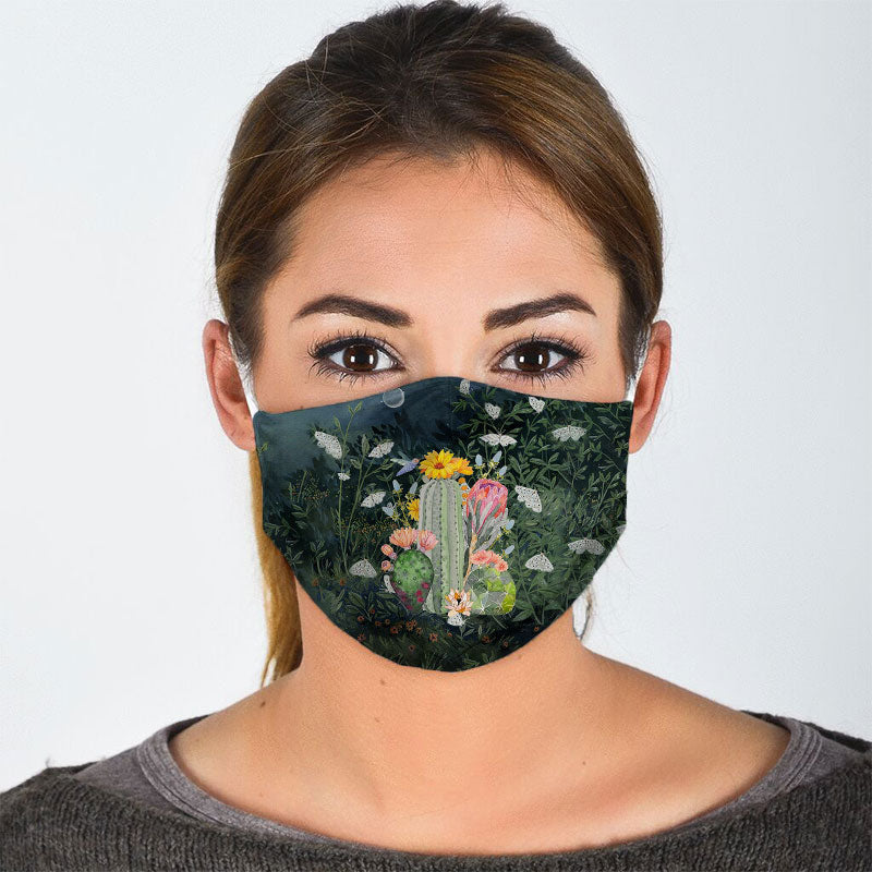 CACTUS ON FLORAL BACKGROUND FACE MASK
