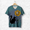 BLACK CAT SUNFLOWER T-SHIRT
