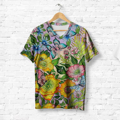 COLORFUL FLORAL BUTTERFLY T-SHIRT