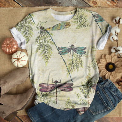 COLORFUL DRAGONFLIES IN BRANCHES T-SHIRT