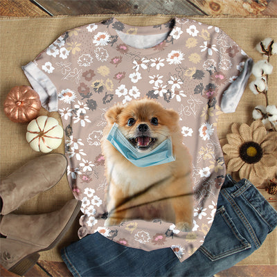 DOG WEARING FACE MASK T-SHIRT