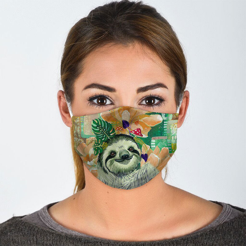 SLOTH SMILING HAPPILY FACE MASK
